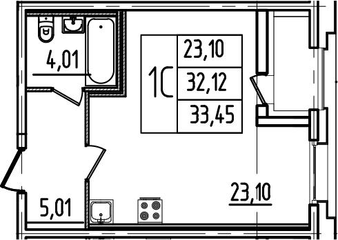 Студия, 34.78 м²
