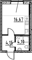 Студия, 24.92 м²– 2