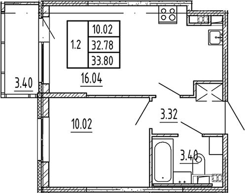 2Е-к.кв, 32.78 м², 3 этаж