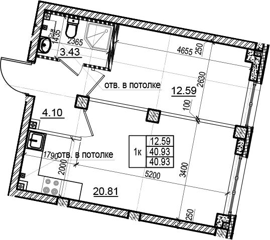 2Е-комнатная, 40.93 м²– 2