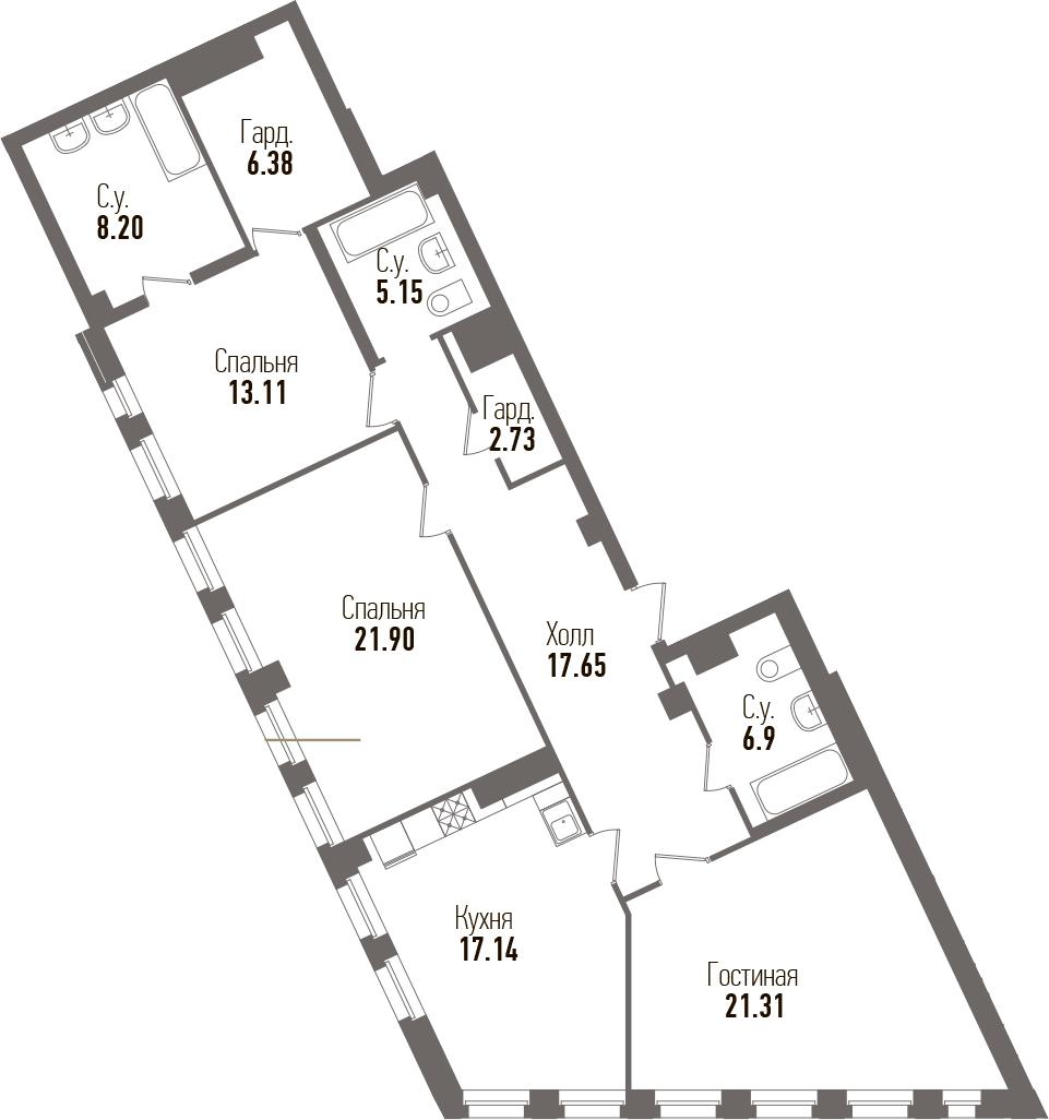 4-к.кв (евро), 119.12 м²
