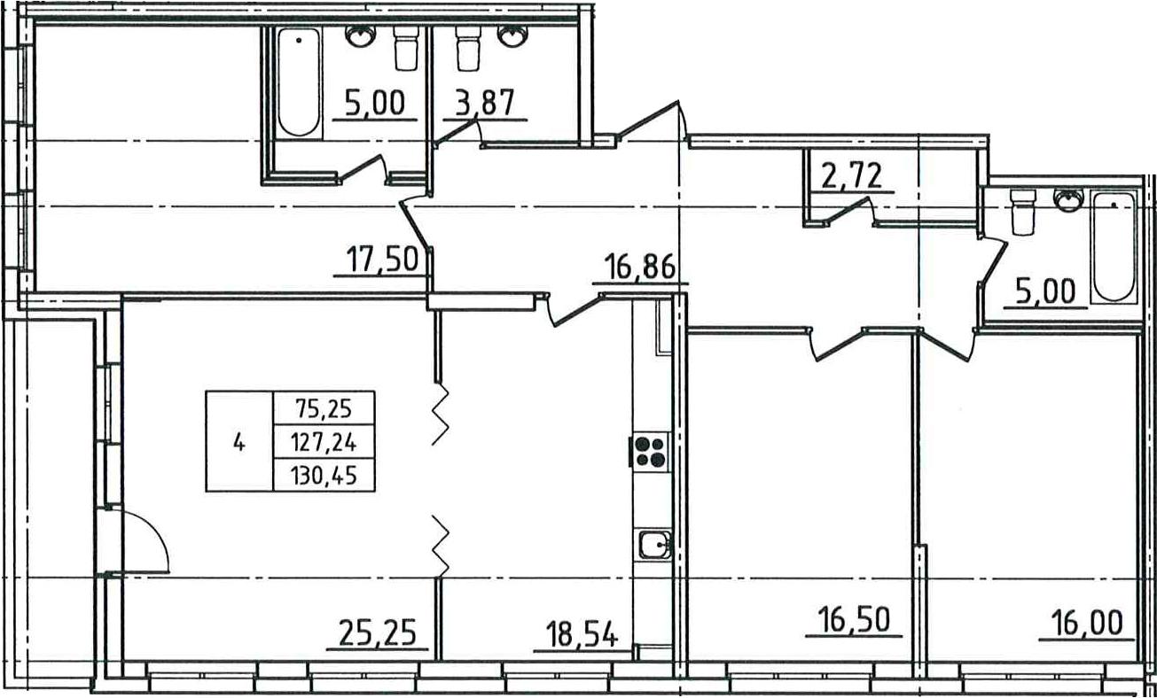 5Е-комнатная, 130.45 м²– 2