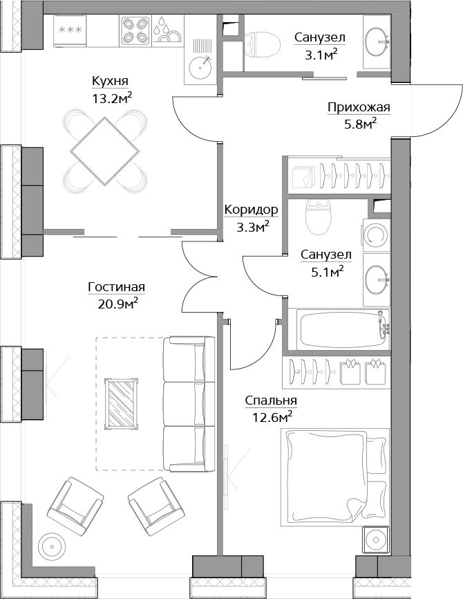 2-комнатная, 64 м²– 2