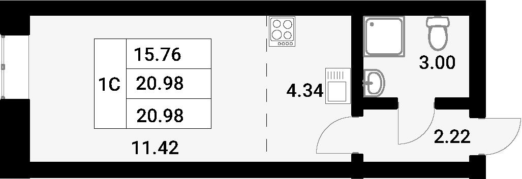 Студия, 20.98 м²
