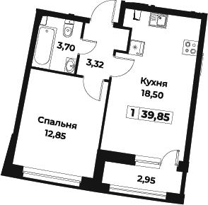 2Е-к.кв, 39.85 м², 1 этаж