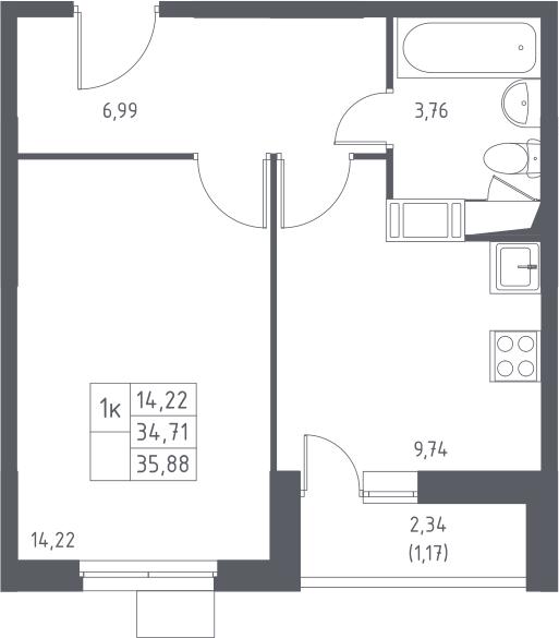 1-к.кв, 37.05 м²