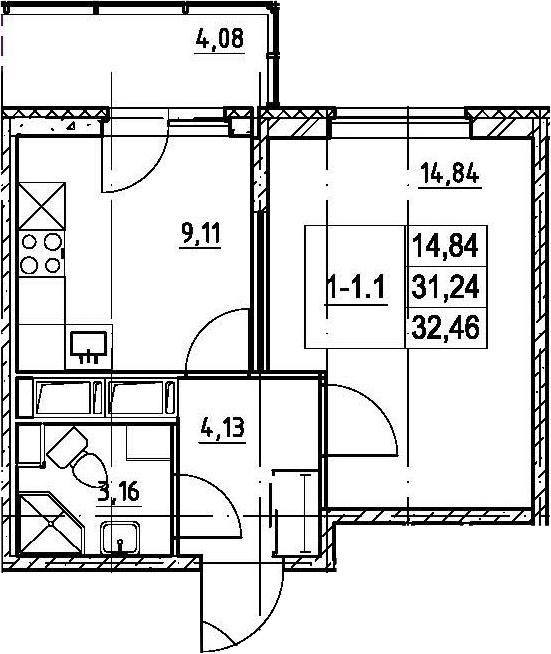 1-к.кв, 31.24 м²