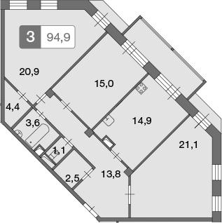 3-к.кв, 95.3 м²