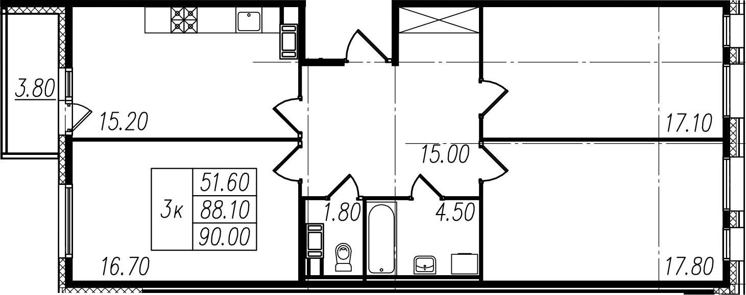 3-комнатная, 88.1 м²– 2