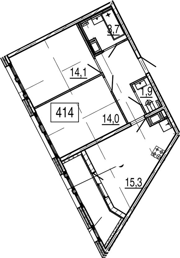 3Е-к.кв, 59.4 м², 6 этаж
