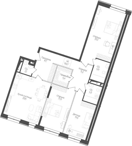 4Е-комнатная, 119.7 м²– 2