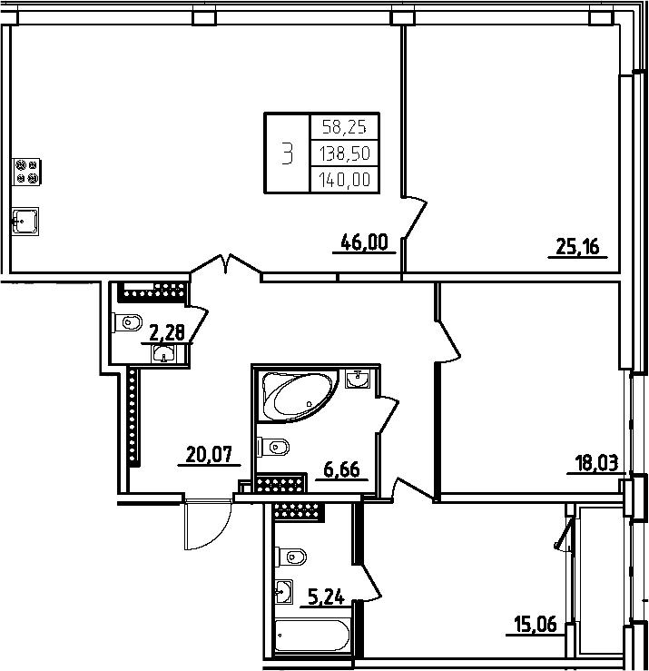 4Е-комнатная, 140 м²– 2
