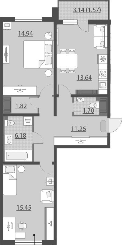 2-к.кв, 68.13 м²