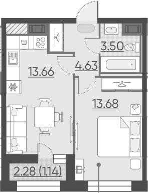 1-к.кв, 37.75 м²