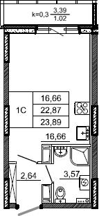 Студия, 23.89 м²– 2