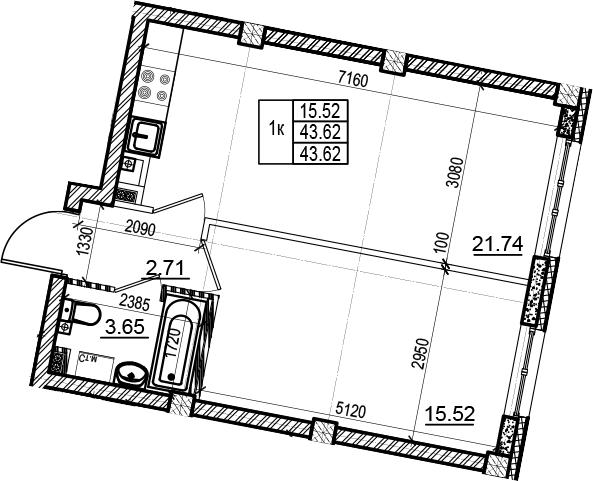 2Е-комнатная, 43.62 м²– 2
