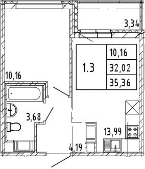 2Е-к.кв, 32.02 м², от 3 этажа