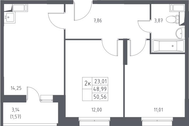 2-к.кв, 50.56 м²