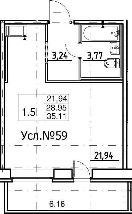 Студия, 28.95 м², 10 этаж – Планировка