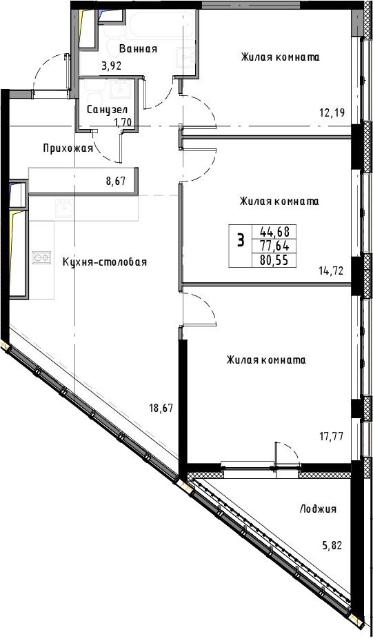 4Е-к.кв, 80.55 м²