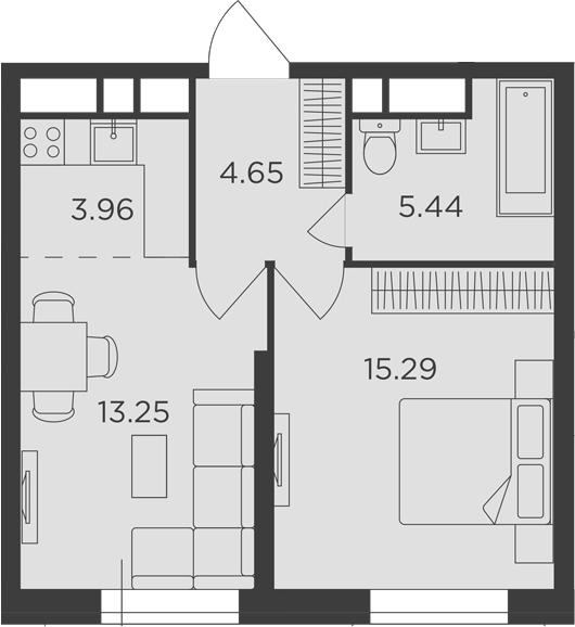 2Е-комнатная, 42.59 м²– 2