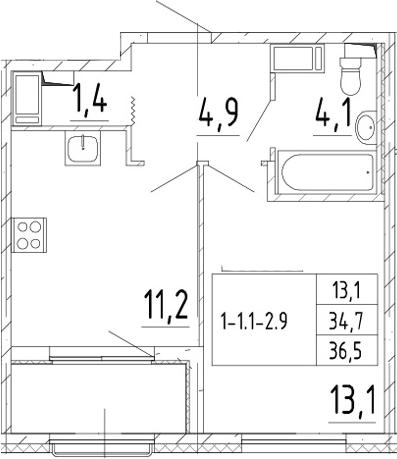 1-к.кв, 36.5 м², 9 этаж
