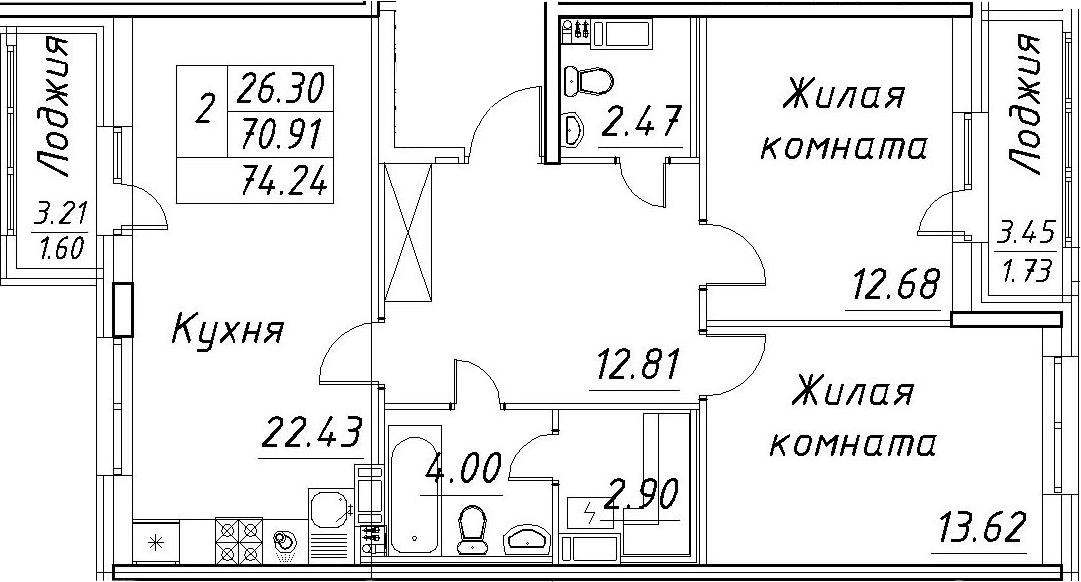 3-к.кв (евро), 77.57 м²
