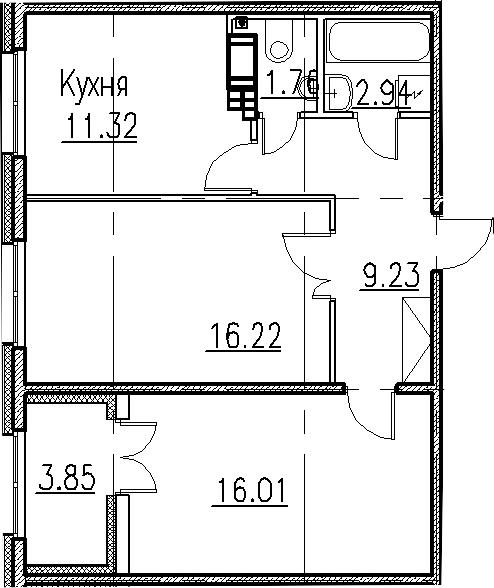 2-к.кв, 57.48 м²
