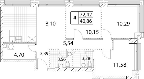 4-к.кв (евро), 72.42 м²