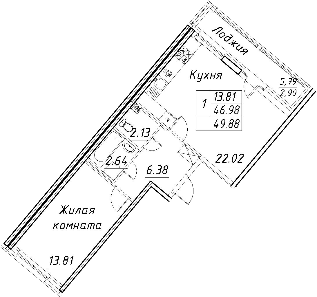 2-к.кв (евро), 52.78 м²