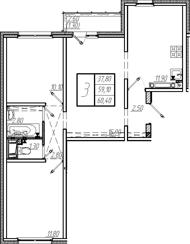 3-комнатная, 60.4 м²– 2