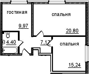2-к.кв, 57.58 м²