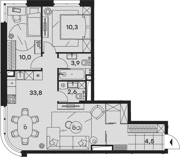 3Е-к.кв, 65.1 м², 23 этаж