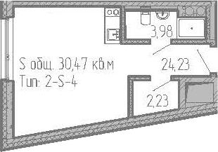 Студия, 30.47 м²– 2