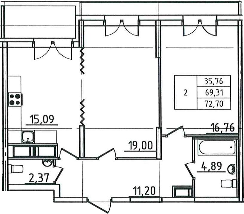 3Е-комнатная, 72.7 м²– 2