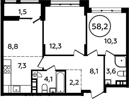 3Е-к.кв, 58.2 м², 5 этаж