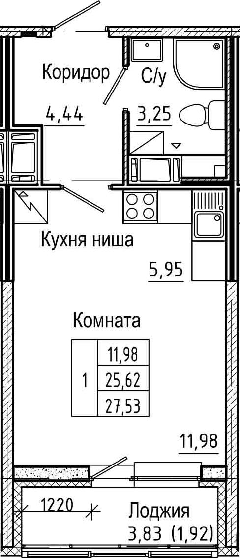 Студия, 29.45 м²