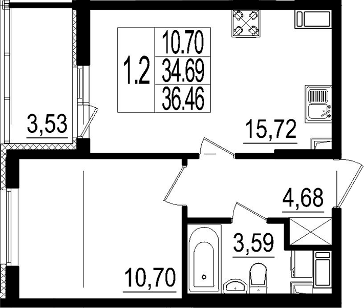 2Е-к.кв, 34.69 м²
