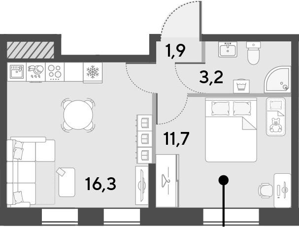 2Е-комнатная, 33.1 м²– 2