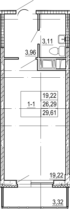 Студия, 26.29 м²