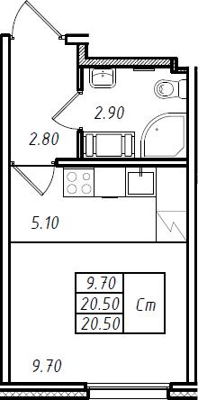 Студия, 20.5 м², 9 этаж