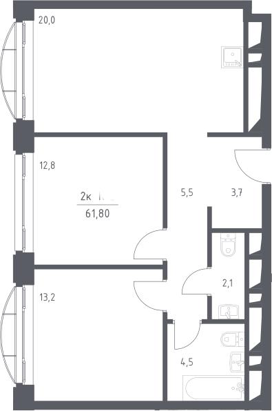 3Е-к.кв, 61.8 м²