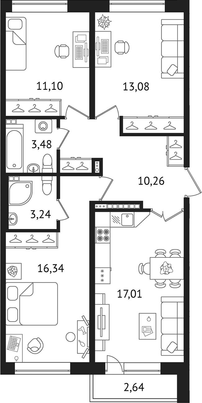 4-к.кв (евро), 76.89 м²