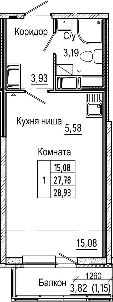 Студия, 31.61 м²