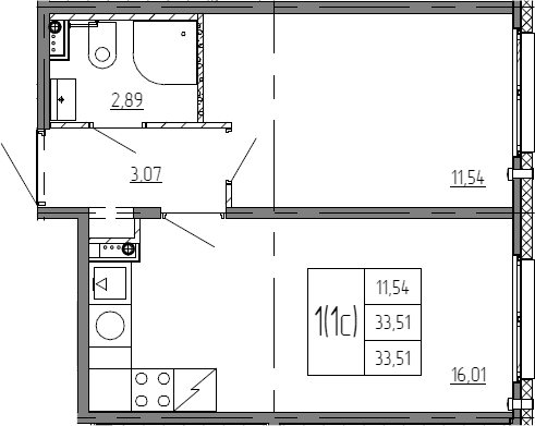 2Е-к.кв, 33.51 м²