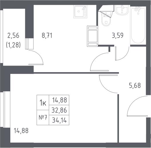 1-к.кв, 35.42 м²