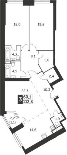 3-комнатная, 112.3 м²– 2