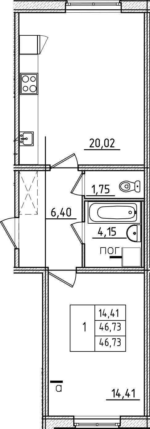 2Е-к.кв, 46.73 м², 1 этаж