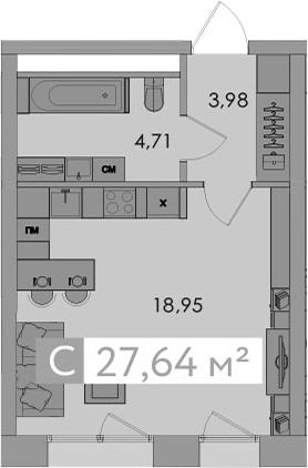 Студия, 27.64 м²