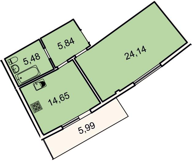 1-к.кв, 51.9 м²